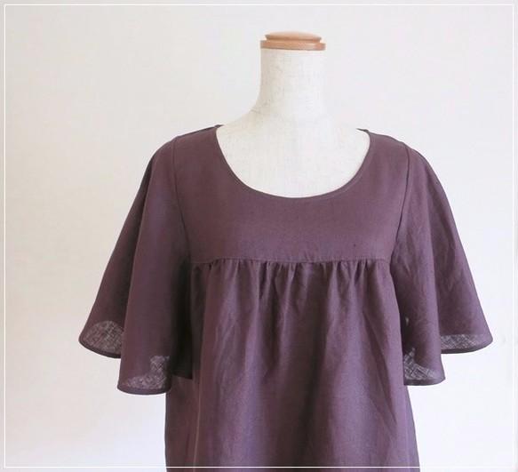 purple* リネン バタフライスリーブ ブラウス
