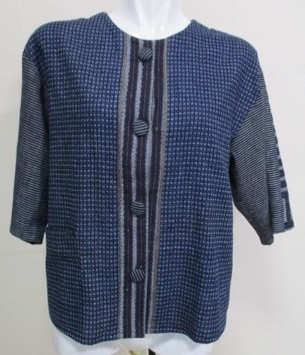 着物リメイク 唐桟縞の着物と男絣で作ったシャツ1730