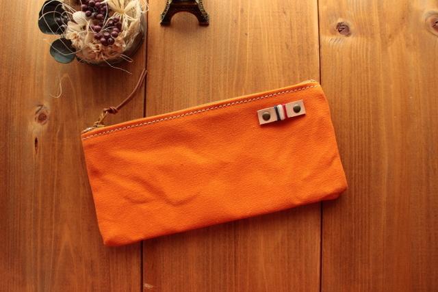 H984 帆布シンプルポーチ Sサイズ -オレンジ-