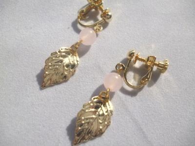 【SALE】カルセドニー・メタルリーフのイヤリング