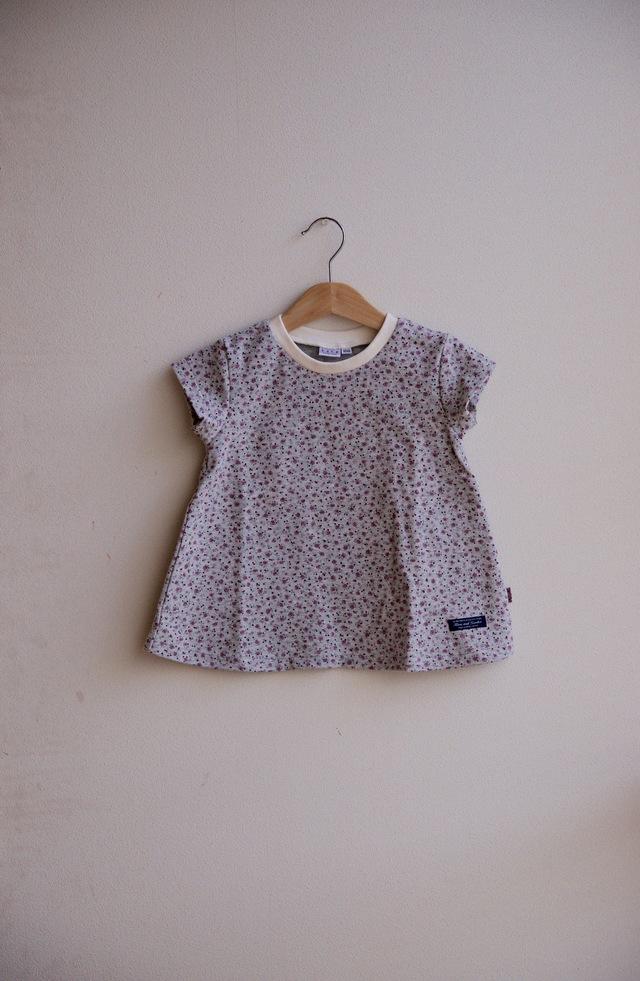【size100】kidsフレアーTシャツ(杢グレー×小花エンジ)