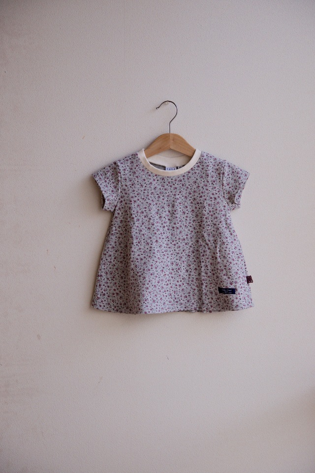 【size90】kidsフレアーTシャツ(杢グレー×小花エンジ)