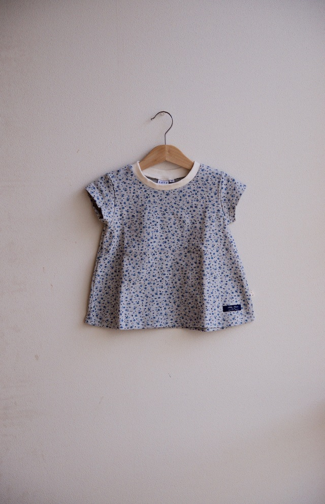 【size90】kidsフレアーTシャツ(杢グレー×小花ブルー)