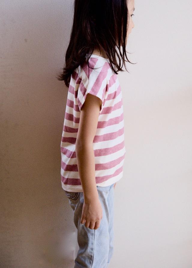 【size120】kidsボーダーTシャツ(オールドピンク)