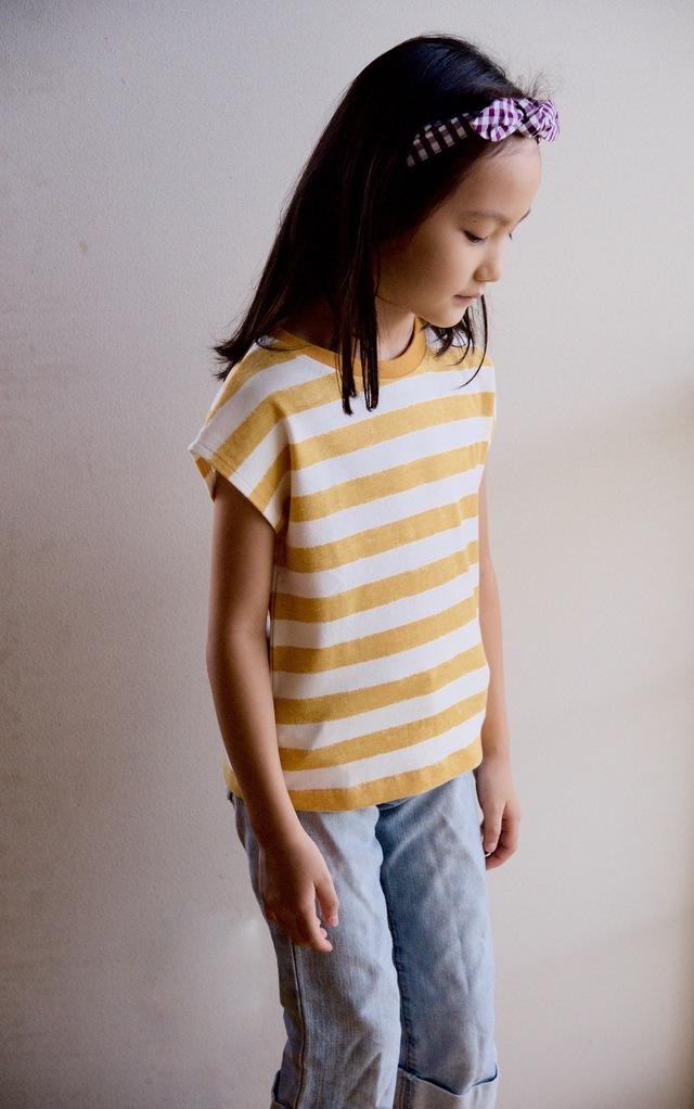 【size110】kidsボーダーTシャツ(オレンジ)