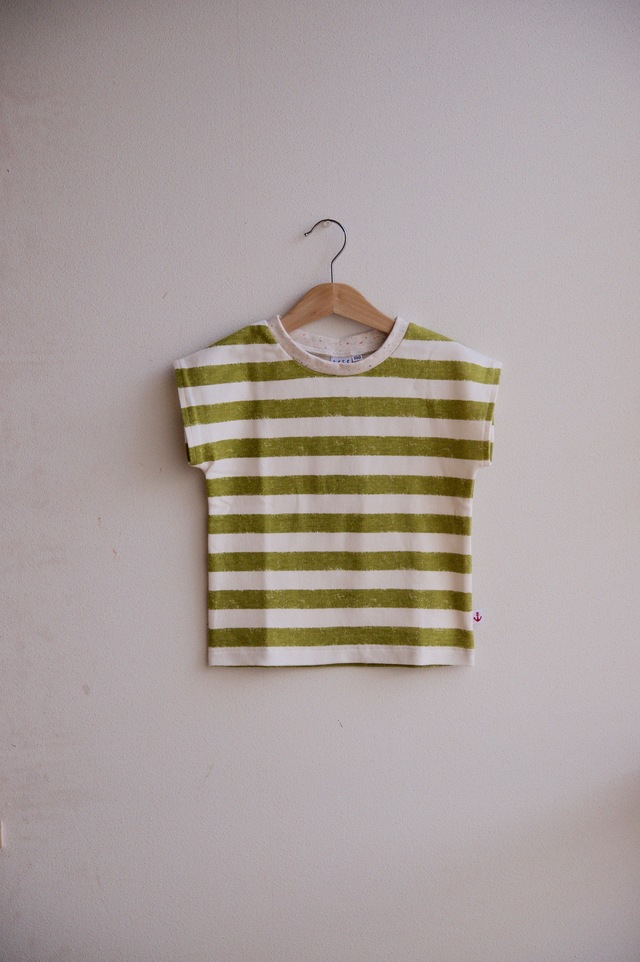 【size100】kidsボーダーTシャツ(ピスタチオ)