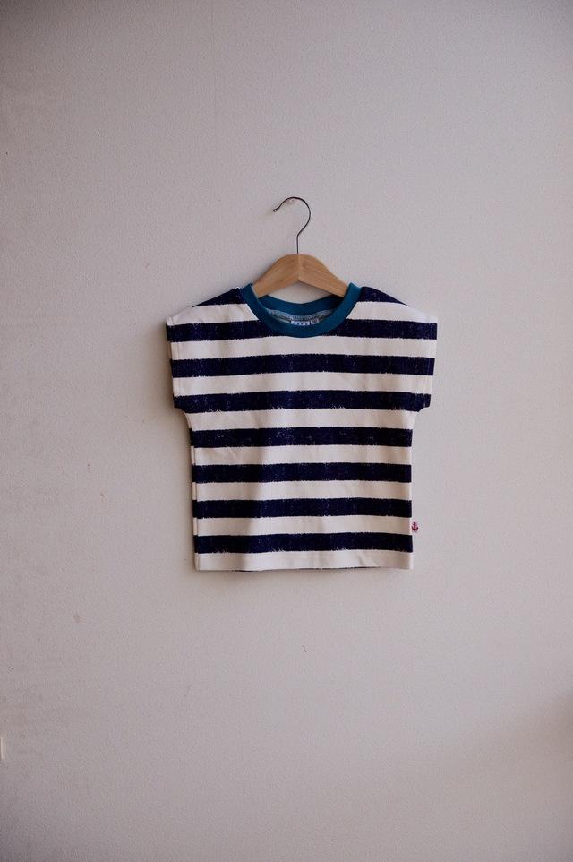 【size90】kidsボーダーTシャツ(ナス紺)