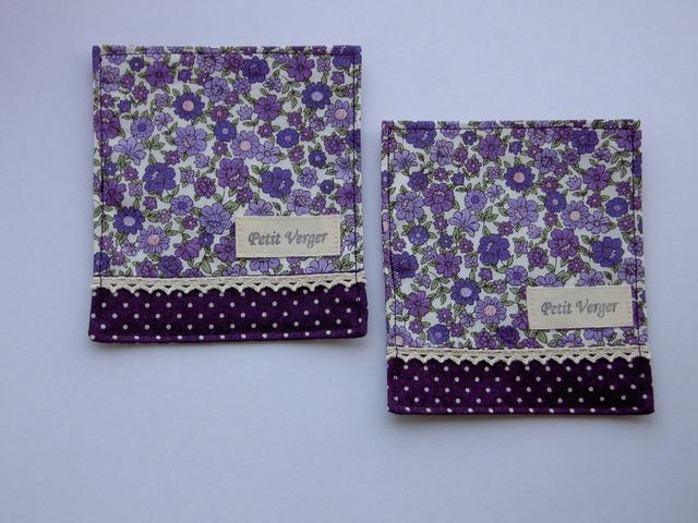 リバティ風小花柄 コースター(紫) 2枚組