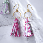 [ SALE ]  Tassel Pearl Pierced Earrings - PINK + BLUE