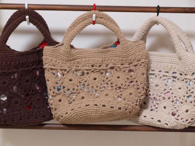 (受注販売)綿のレーシーバッグ Sサイズ