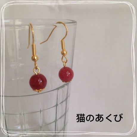Xmas送料☆彡3 ピアス(ニッケルフリー)ローズジェイド