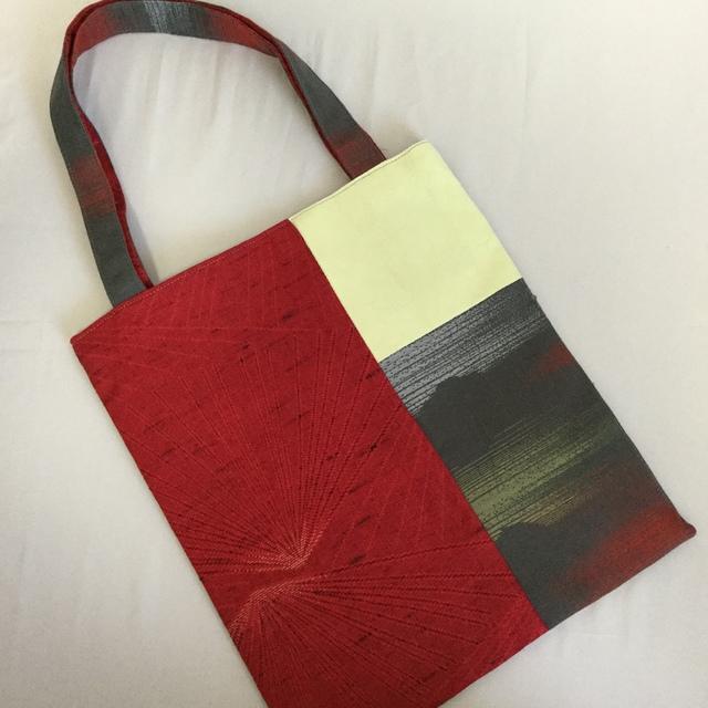 着物地リメイクの手さげバッグ(赤×黄色)