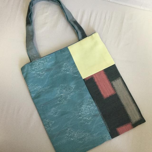 着物地リメイクの手さげバッグ(水色×黄色)