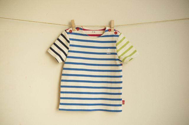 【size90】カラフルボーダーTシャツ(マリンブルー)