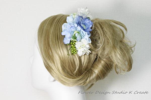 青いデルフィニュウムと紫陽花、布花のコーム
