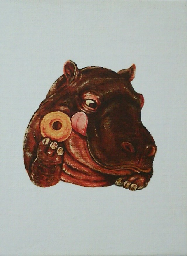 ドーナツを持ったカバのイラスト