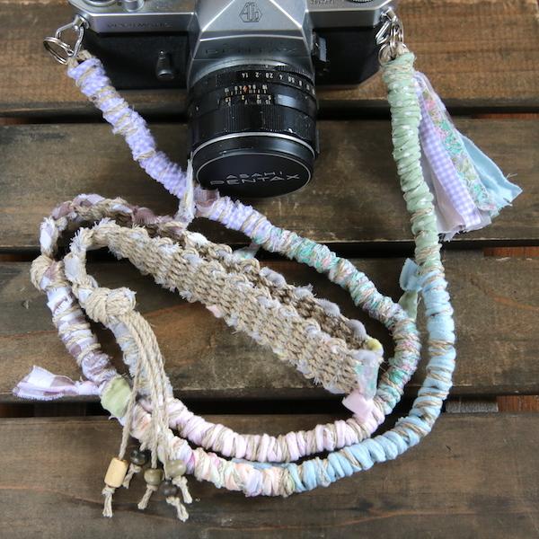<2016年8月新色>裂き布麻紐ヘンプカメラストラップ#4(2重リング)