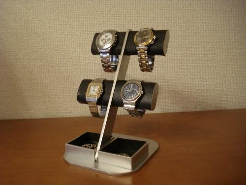 時計スタンド ブラック4本掛け楕円ダブルトレイディスプレイスタンド