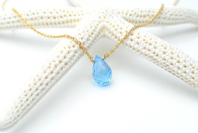 再販【14kgf】宝石質スイスブルートパーズ(ドロップ)のネックレス