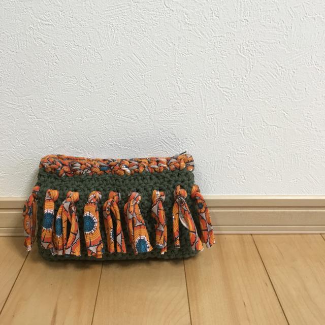 裂き布の秋色フリンジポーチ