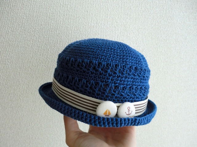 ★a様ご予約品★ ボタンチャームのマリン帽子 44cm