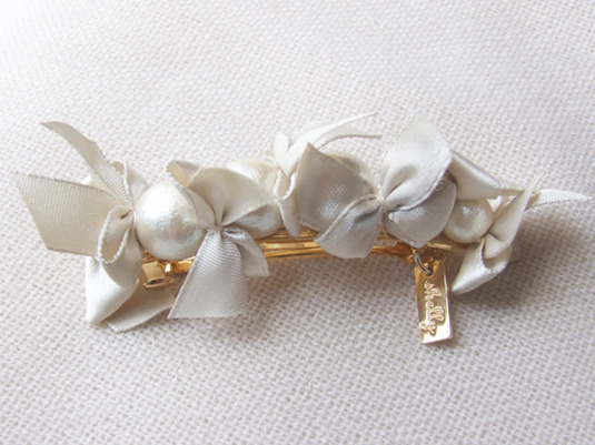 ribbon & cottonpearl barrette 【ゴールド】