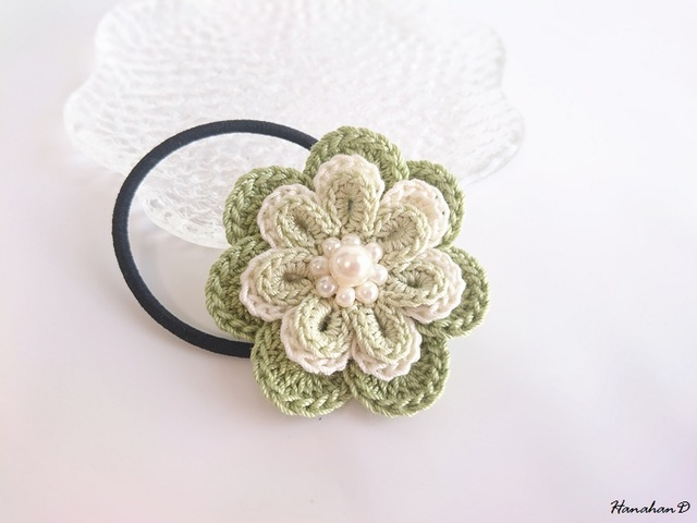 3色ローズヘアゴム 手編みレースグリーン