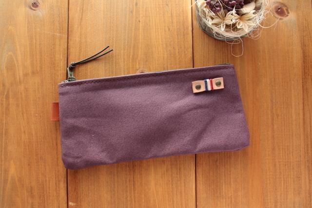 H988 帆布シンプルポーチ S18サイズ -懐かし紫-