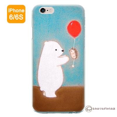 iPhone6/6Sケース 「しろくま&はりねずみ 風船」(ポストカード付)