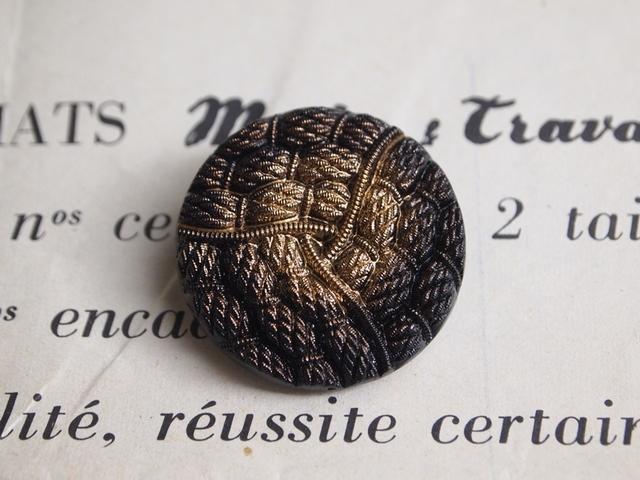 【売り切れ】フランス ロープ模様の大きなガラスボタン