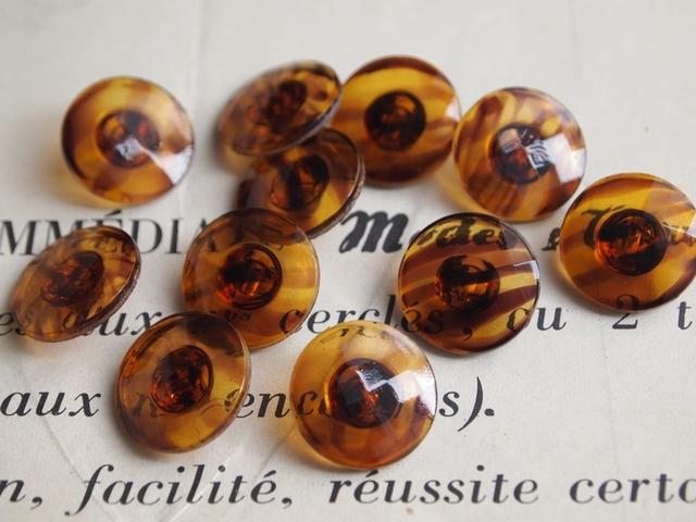 フランス マーブル模様のガラスボタン 2個セット