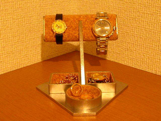 腕時計スタンド 腕時計ディスプレイスタンド トレイ付き2本掛
