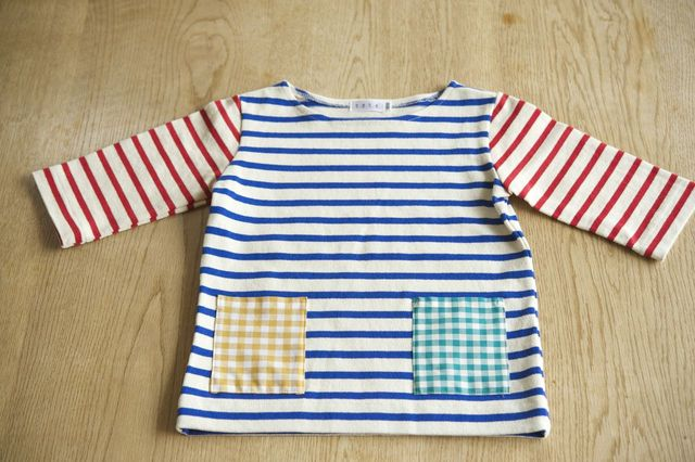 【size100】2色のボーダーTシャツ(七分袖)