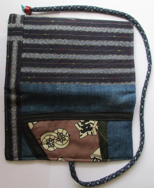 着物リメイク 唐桟縞と古布藍で作った和風お財布 1738