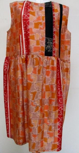 着物リメイク 銘仙の着物で作ったジャンバースカート 1740