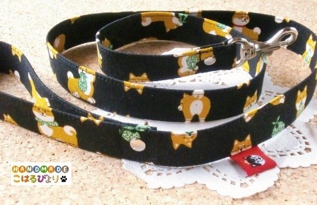【再販・受注制作】柴犬柄のお散歩用リード 黒?