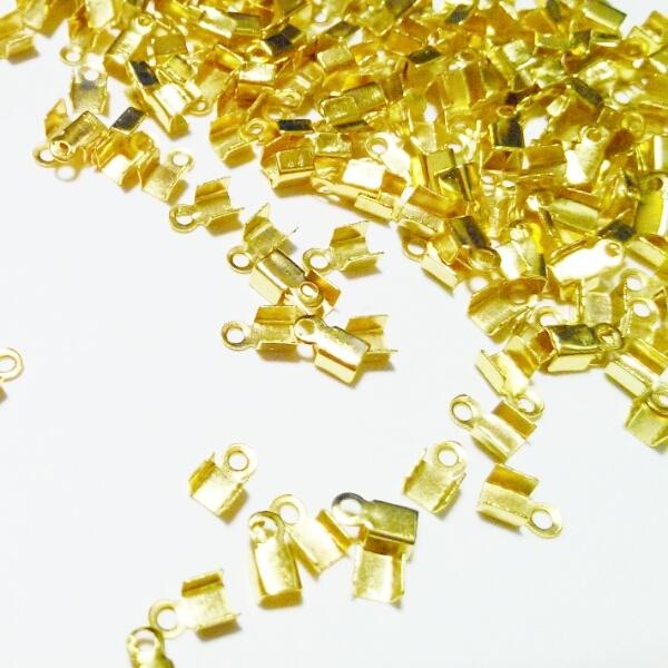 40個 カシメ(エンドパーツ・とめ金具)ゴールド6×2mm