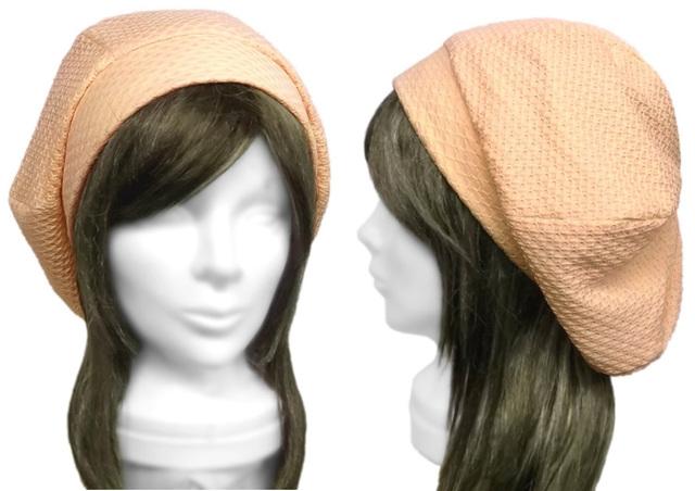 ワッフル風ニット/リブ付ベレー帽(ゆったり)◆ベージュ系