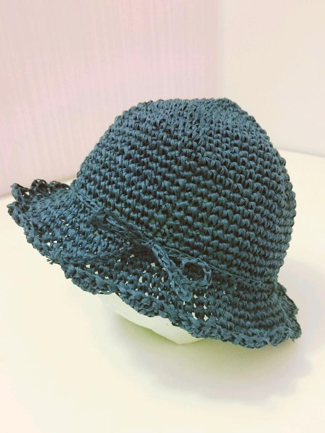 夏のおでかけに♪ベビーサイズコットン100%麦わら風帽子(紺色)