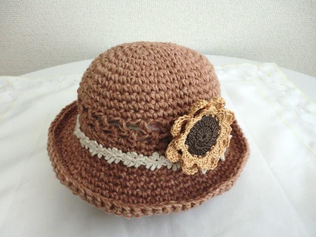 ひまわりスリーピンの春夏帽子 47cm
