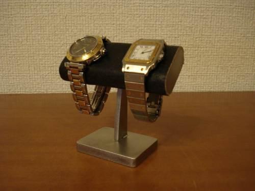 時計スタンド だ円小粒な2本掛け腕時計スタンド ブラック