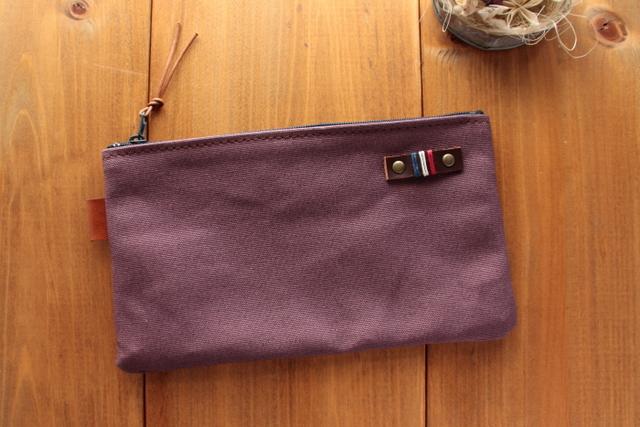 H996 帆布シンプルポーチ MSサイズ -懐かし紫-
