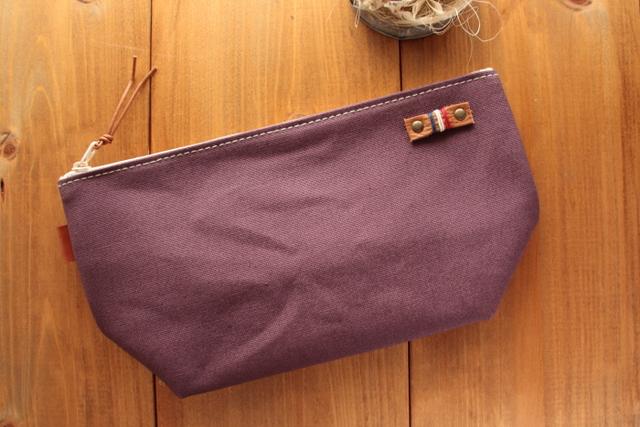 H998 帆布のシンプルマチありポーチ Lサイズ -懐かし紫-