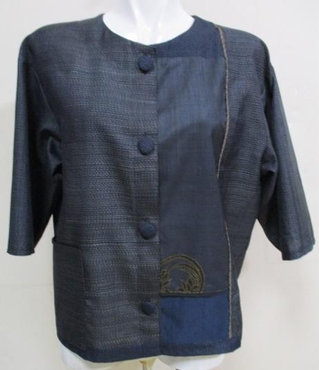 着物リメイク 藍大島で作ったジャケット 1741