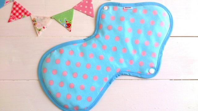 可愛い布ナプキン『ブルーにピンクドット』夜用LLサイズ