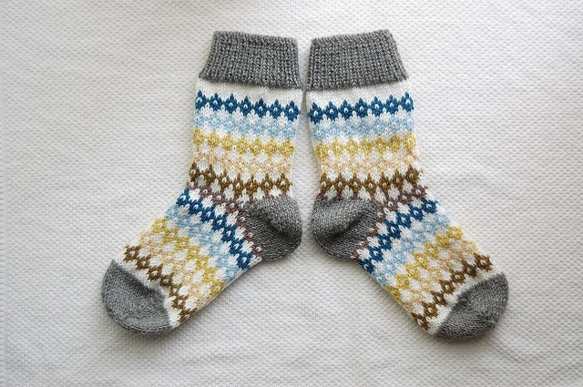 手編みの靴下 【カラフルダイヤ】