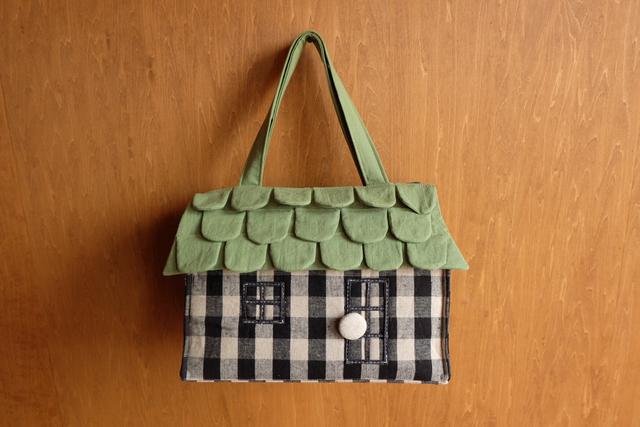 OUCHI box bag L  ライトグリーン屋根+ブロックチェック
