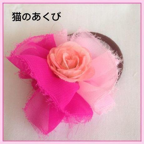 新春セール送料☆彡11 ヘアゴム バラ(ピンク)