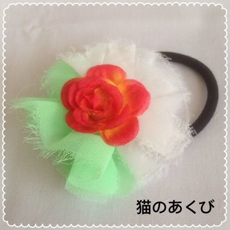 Xmas送料☆彡12 ヘアゴム バラ(レッドイエロー)