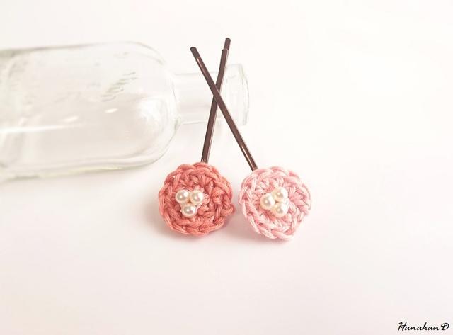 まんまるヘアピンセット 手編みリネンピンク